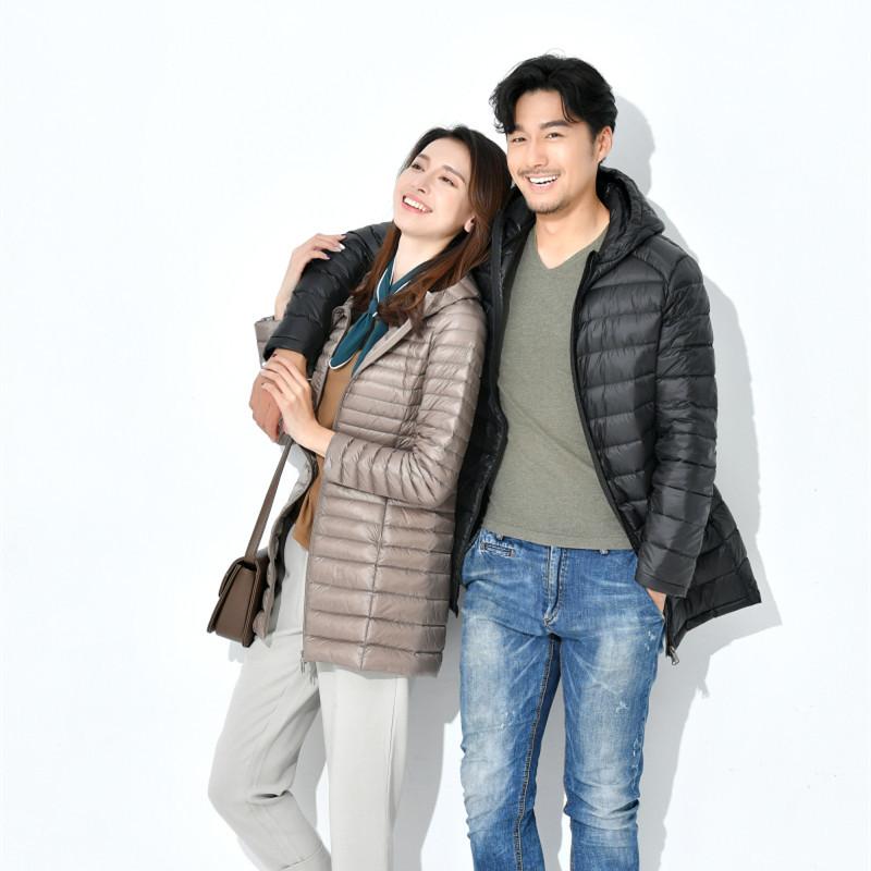 秋冬新款升级男连帽中长款轻薄羽绒服韩版大码厂家批发