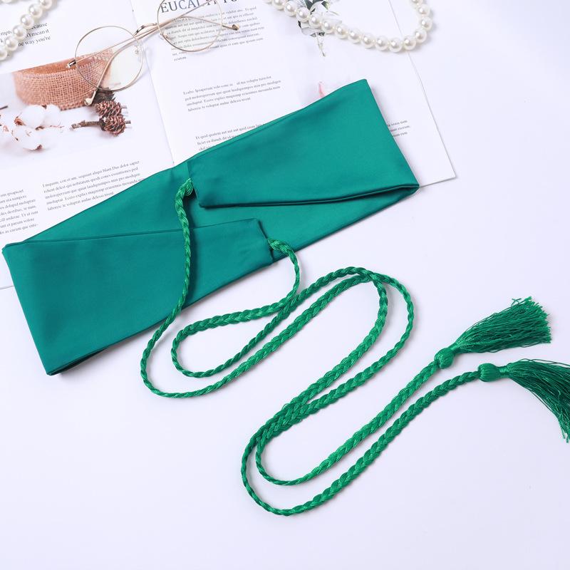 女宽腰封装饰时尚百搭基本款腰带学生古风民族风绿色配裙子绑带