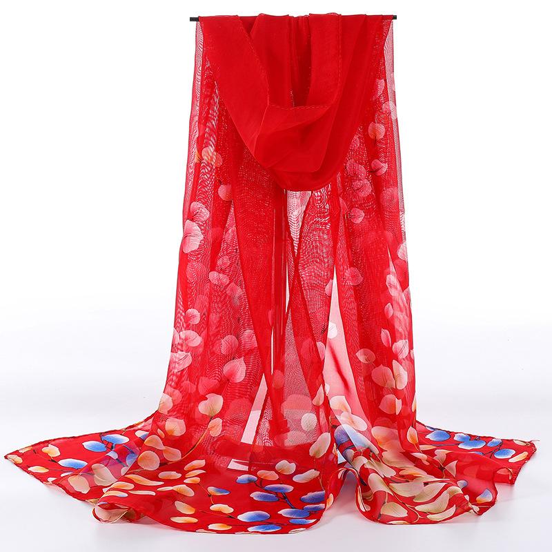 丝巾女秋冬款百搭洋气时尚披肩春秋韩版围巾薄长款雪纺大纱巾围脖