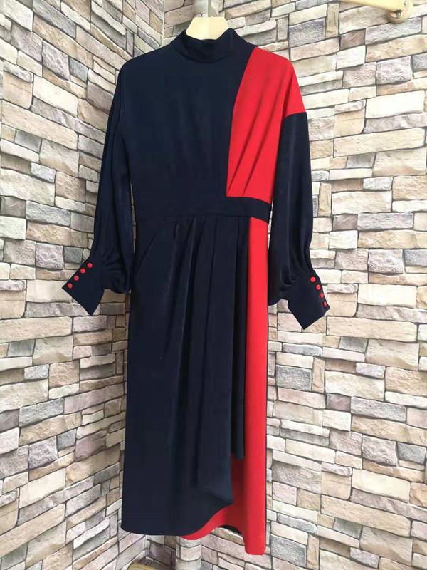 推荐新品性价高优雅尊领撞色冰丝绒收腰显瘦灯笼袖连衣裙秋冬