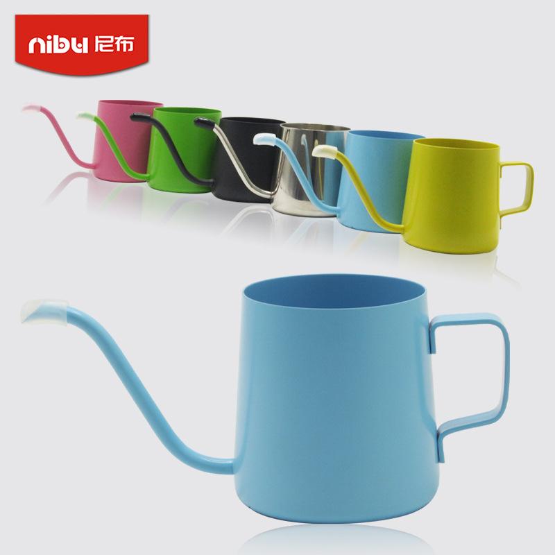 尼布挂耳壶彩色挂耳袋咖啡手冲壶304不锈钢细口壶咖啡壶可印LOGO
