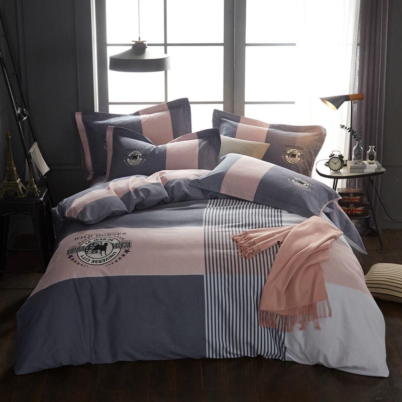 批发全棉活性生态磨毛四件套纯棉加厚保暖床单被套床品一件代发