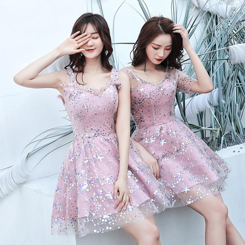 伴娘禮服女2019新款秋冬季仙氣質粉色系亮片生日派對連衣裙子短款
