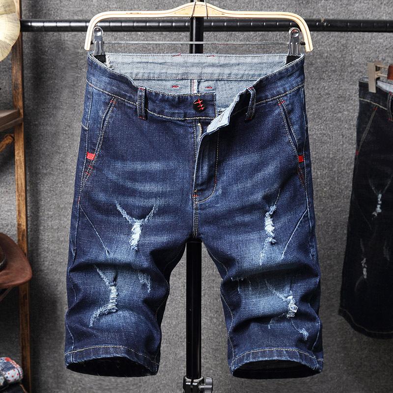 夏季新款牛仔短裤韩版男式小直筒青年男裤大码五分破洞中裤785