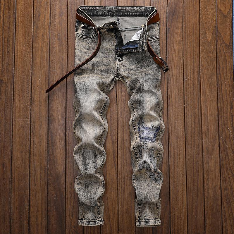 原创设计新款欧美风破洞贴布直筒修身牛仔裤灰色刺绣时尚潮裤9509
