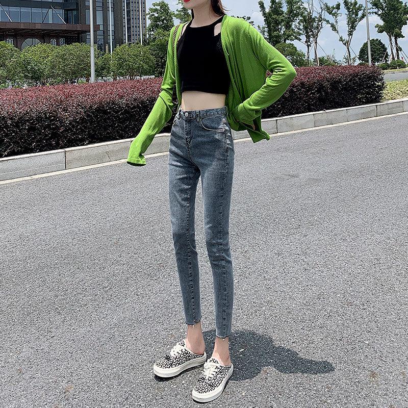 牛仔裤女九分裤春秋新款弹力紧身韩版网红高腰小脚铅笔裤子女学生