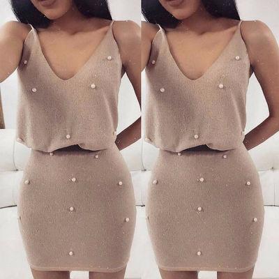2020夏季速卖通亚马逊EBAY新款泡珠吊带V领性感修身包臀连衣裙女
