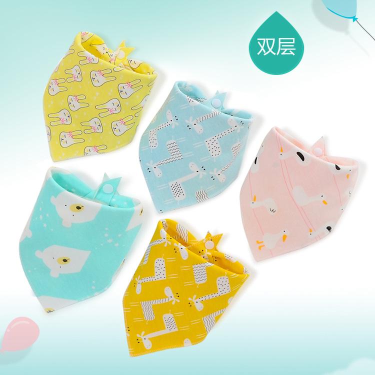 婴儿双层彩色纯棉三角口水巾宝宝用品按扣全棉卡通三角巾批发