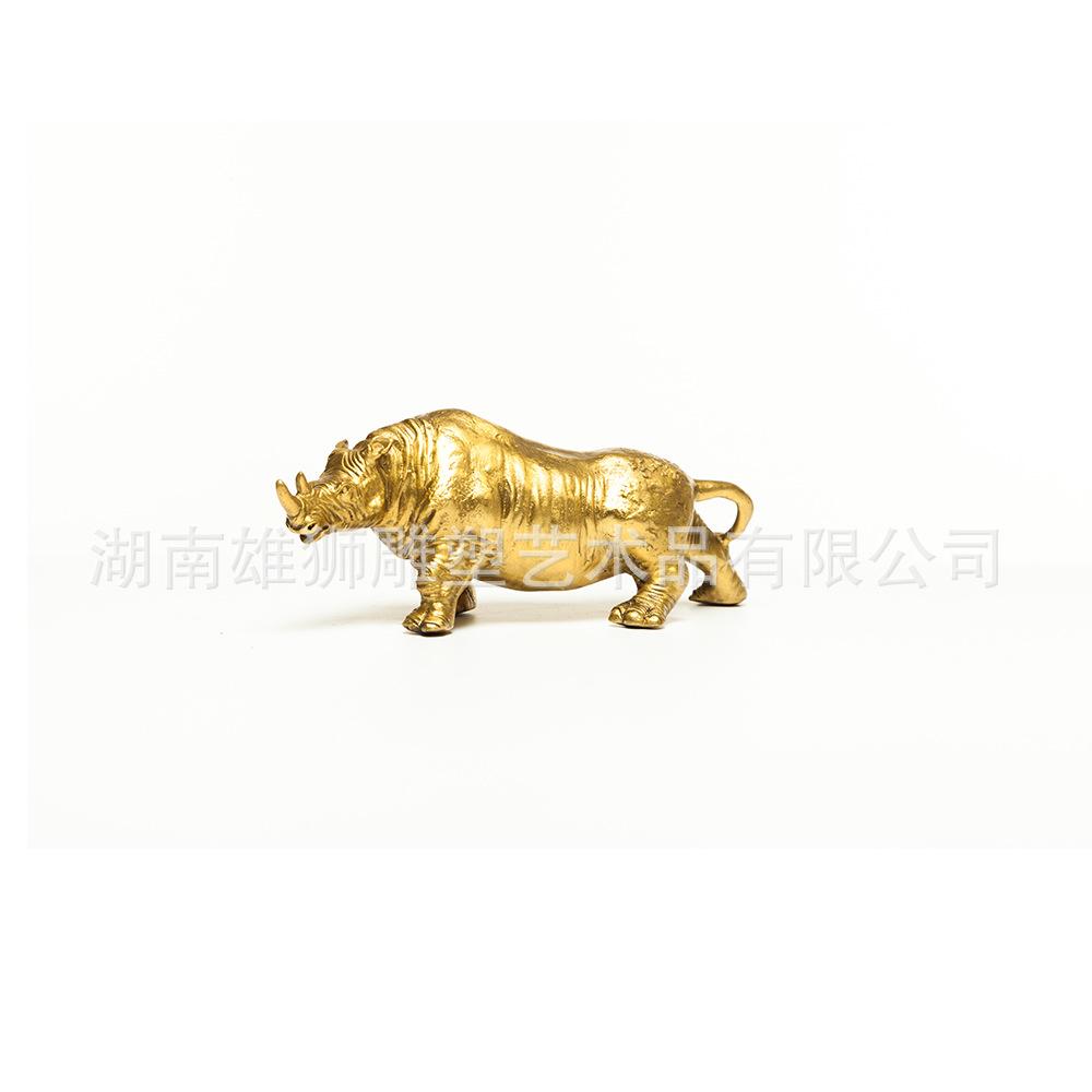黄铜犀牛办公室摆件母子犀牛装饰品家居电视柜装饰铜工艺品