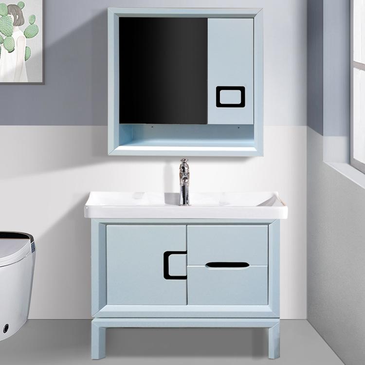厂家直销现代简约浴室柜新款卫生间洗漱台镜柜面盆清新浴室柜组合