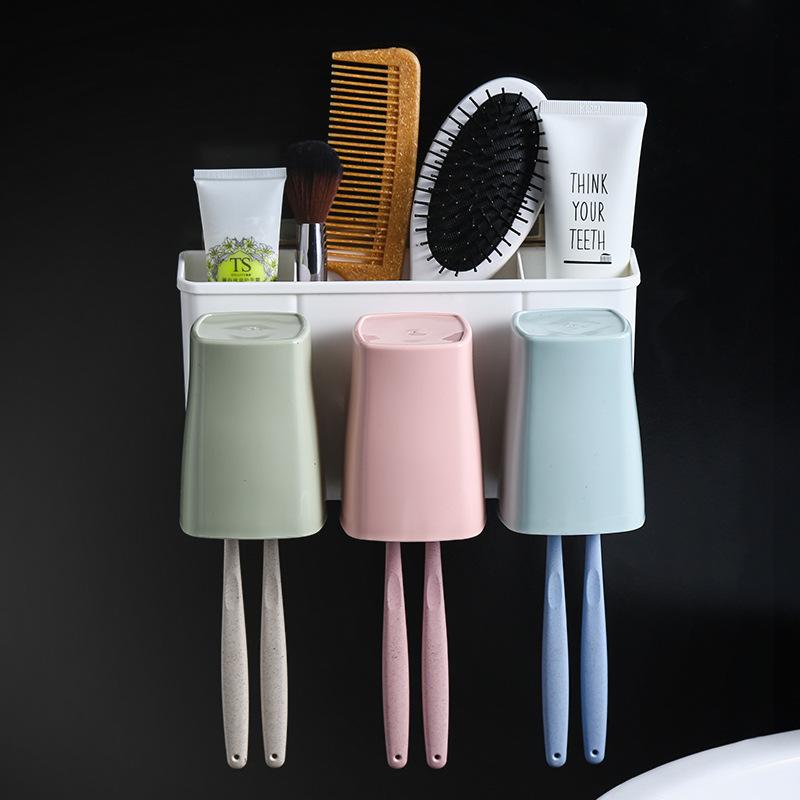 免打孔壁挂家庭牙刷架漱口杯洗漱套装收纳架卫生间牙刷牙具置物架