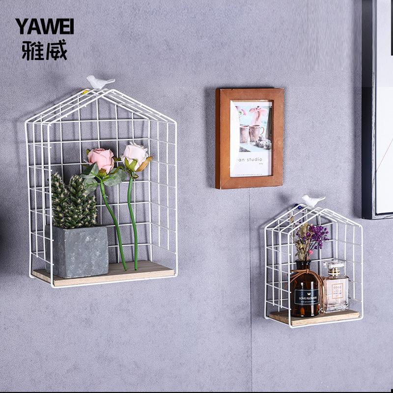北欧墙上置物架家居店铺墙壁装饰挂篮铁艺鸟笼收纳整理架