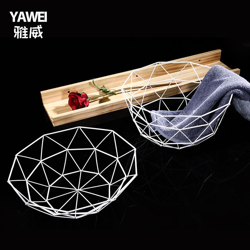 北欧金属水果盘家用铁艺编制果篮沥水篮创意客厅桌面零食收纳篮