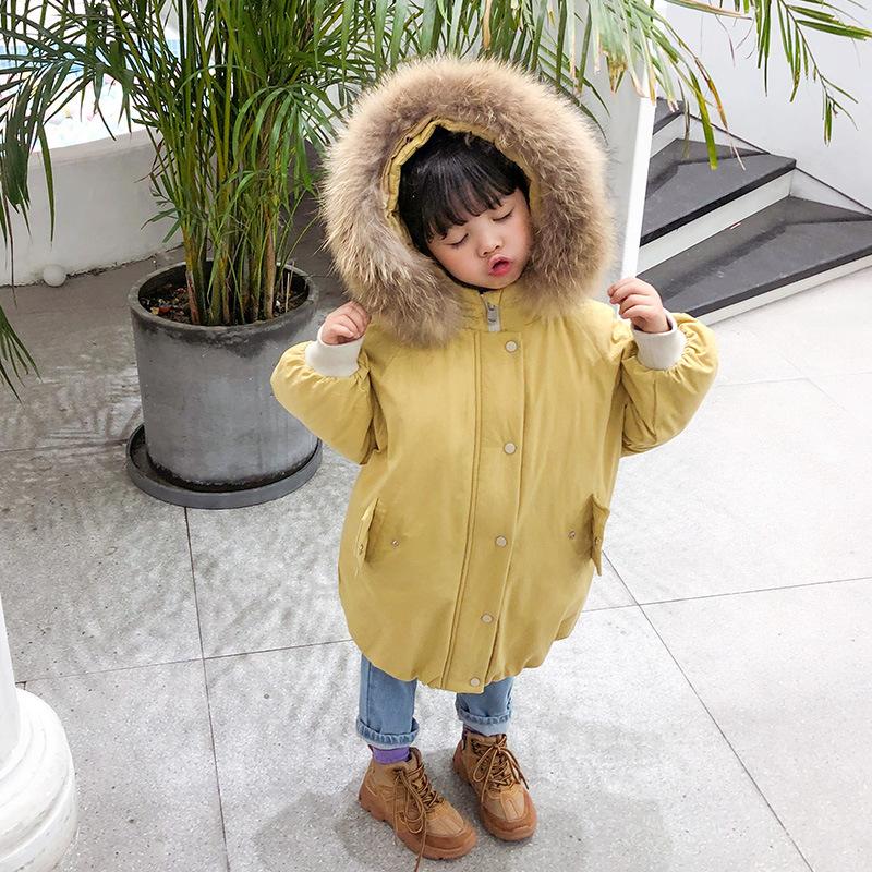 女童羽绒服中长款2019新款洋气韩版大毛领儿童保暖加厚宝宝外套冬