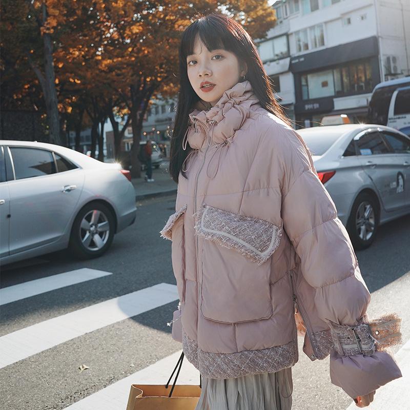 冬装2019新款韩版宽松小香风粗花呢拼接小个子加厚棉衣棉服面包服