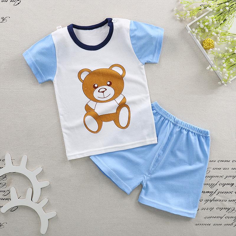 爆款儿童夏季纯棉短袖套装男女婴幼儿童装中小童男孩两件T恤套装