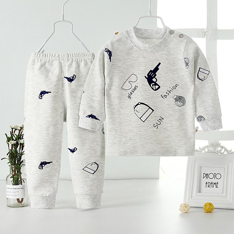 新款童装中小童男女宝宝秋衣秋裤儿童内衣套装睡衣家居服一件代发