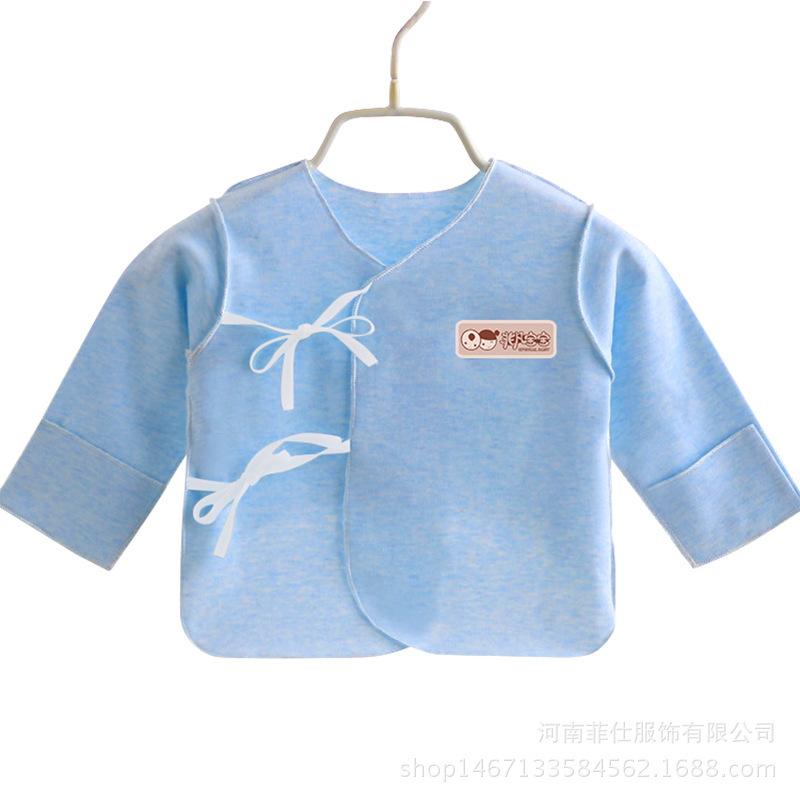19新款婴幼儿纯棉宝宝春秋系扣和尚服彩棉新生儿半背上衣一件代发