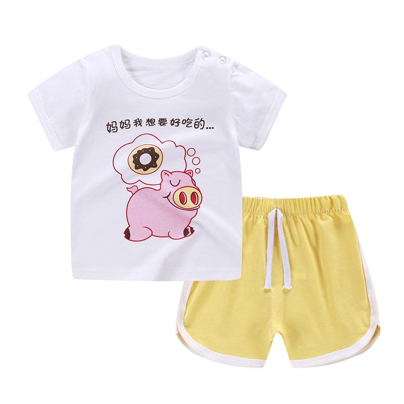 2019新款儿童纯棉T恤童套装短袖短裤男女童两件套家居服一件代发