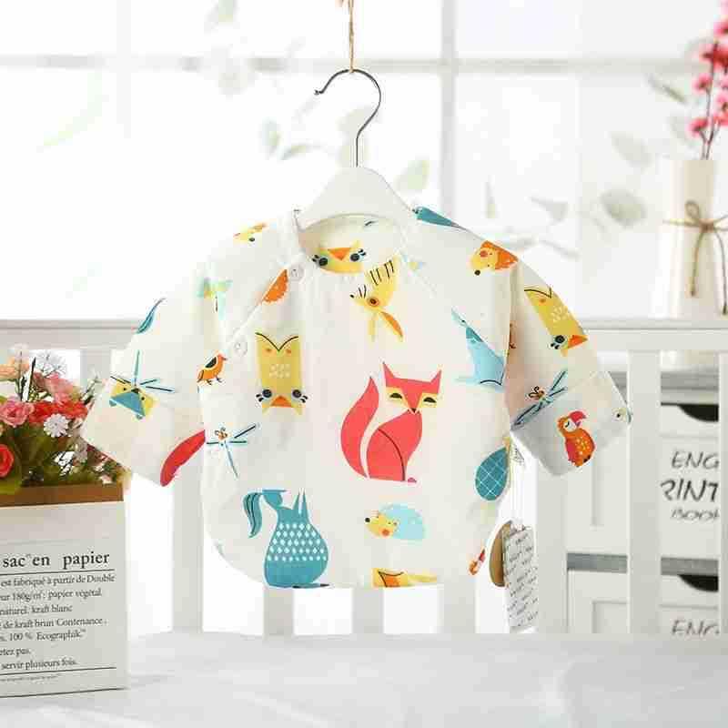 2019新款纱布夹棉半背上衣长袖白底印花宝宝套婴儿装纯棉保暖秋冬