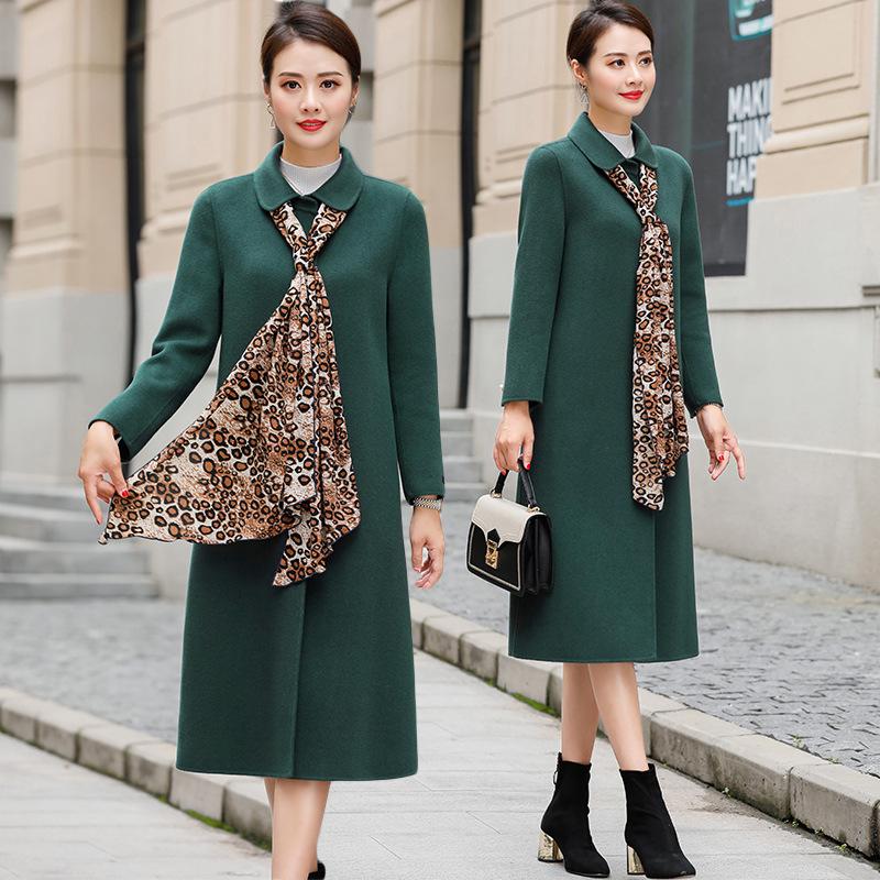 时尚潮流舒适长袖毛呢外套2019年冬季中长款休闲
