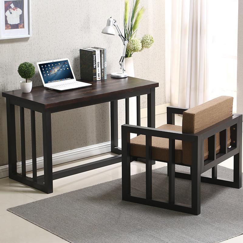 美式铁艺实木家具职员电脑办公桌工业风做旧复古方形书桌可定制