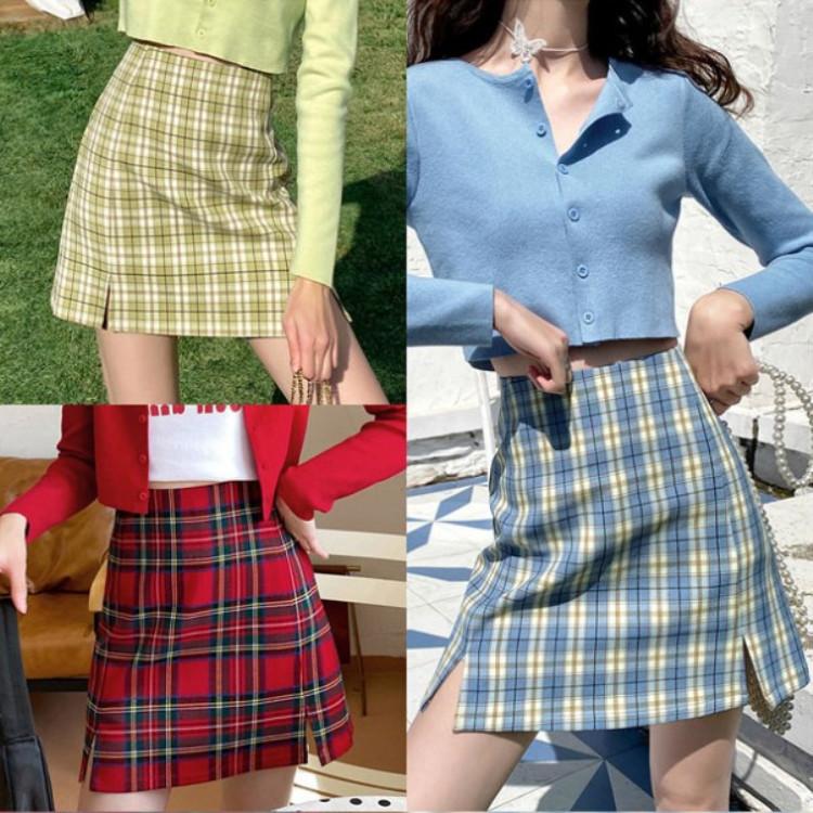 格子半身裙女夏2020春季新款高腰bm风短裙显瘦开叉a字裙子潮