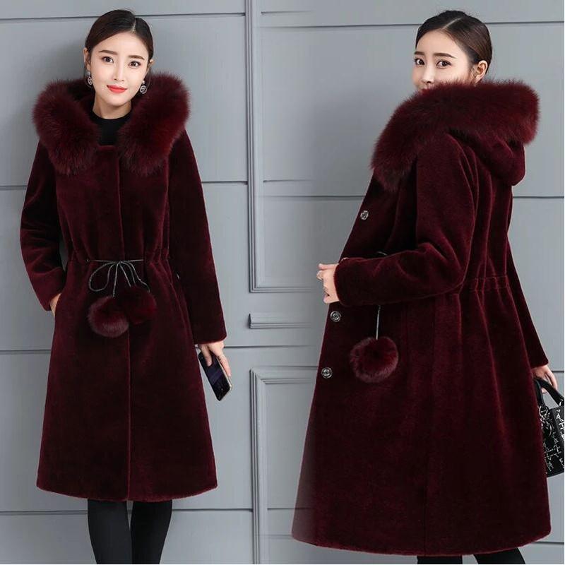 仿皮草外套女新款大码加厚仿水貂毛大衣长款一件代发
