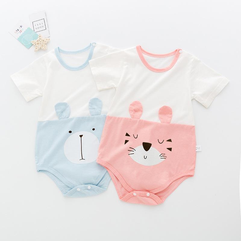 2020年夏季短袖婴儿三角哈衣宝宝包屁衣纯棉连体薄款爬服一件代发