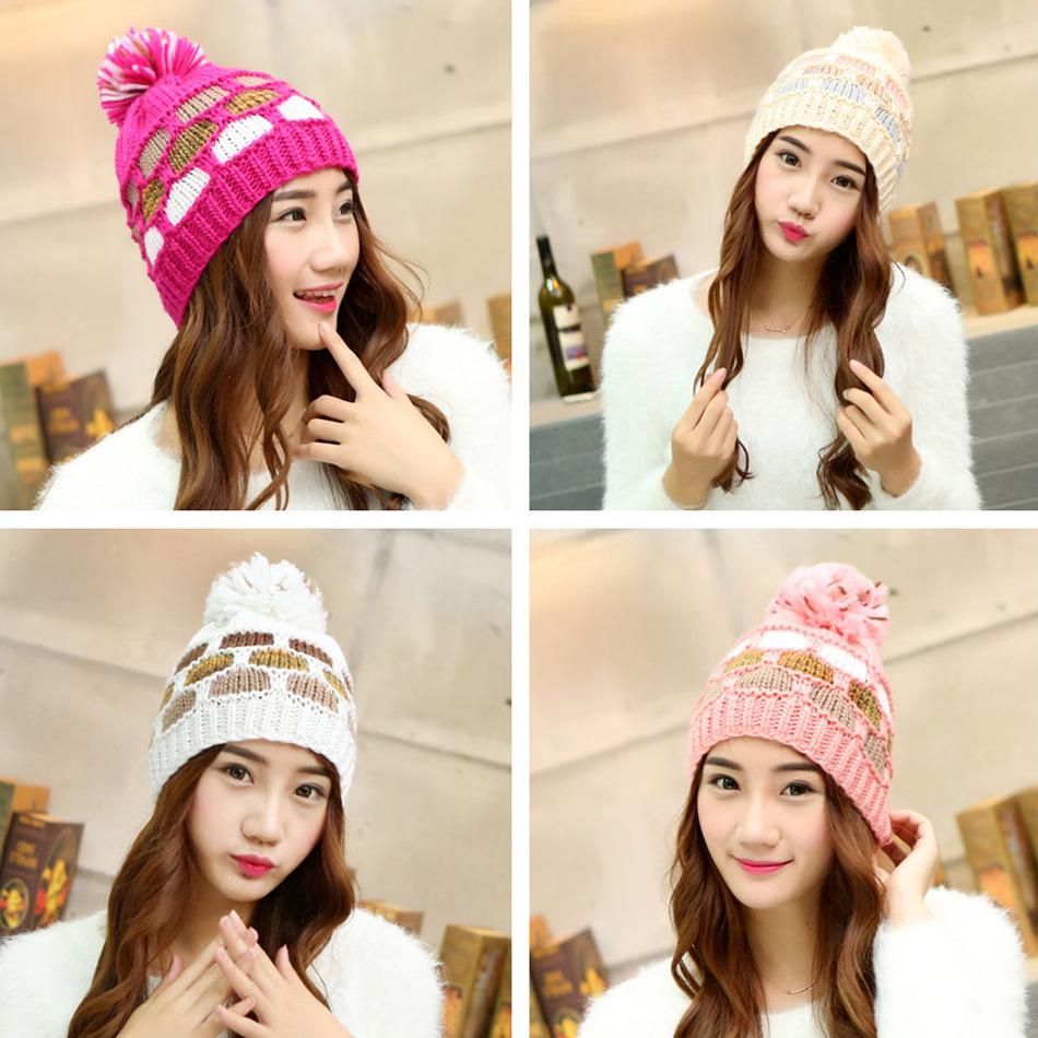毛线帽子女冬天双层加厚加绒