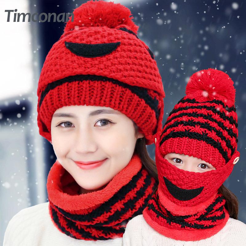 冬天新款潮可爱秋冬女士加绒针织帽女士护耳帽冬季毛线帽帽子女