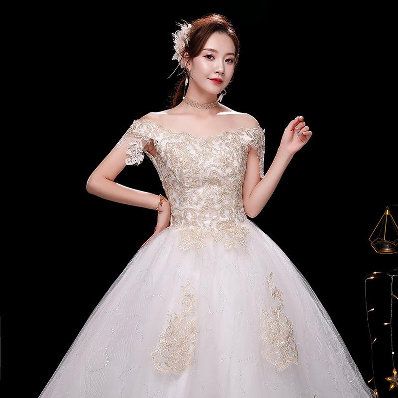 一字肩婚紗2019新款新娘森系公主夢幻簡約宮廷顯瘦抖音網紅婚紗裙