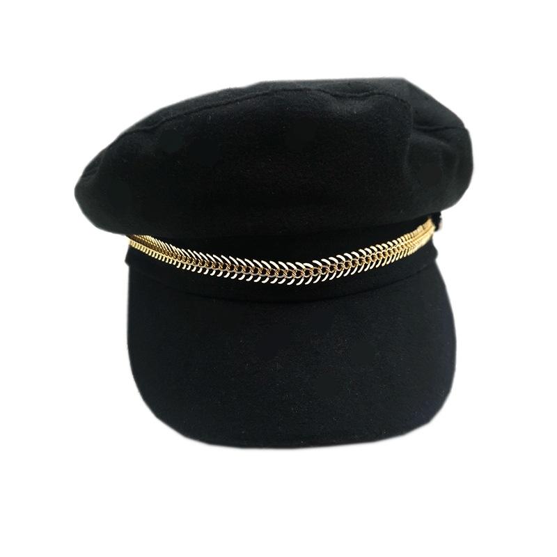 新款女士海军帽拉链贝雷帽英伦风欧美
