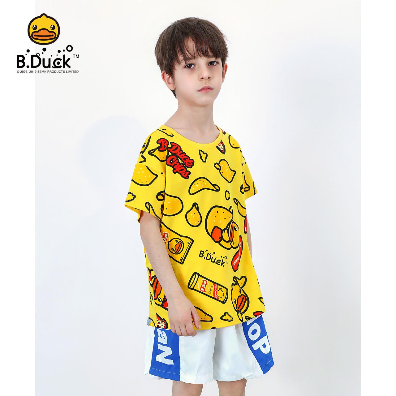 B.duck小黄鸭童装男童短袖t恤2020新款夏季半袖上衣儿童套头纯棉T