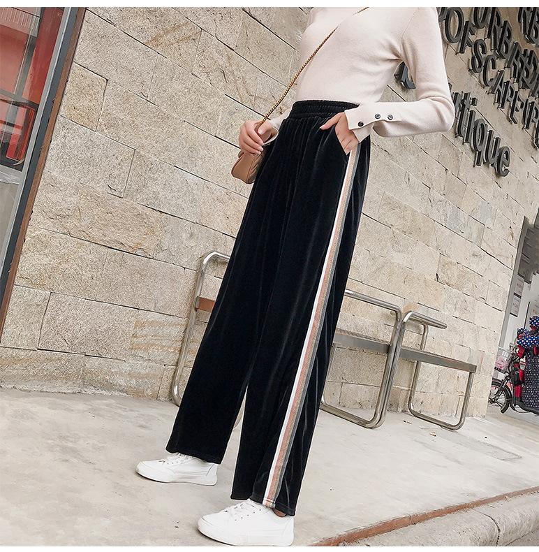 实拍~阔腿裤女夏装金丝绒坠垂感学生韩版宽松显瘦运动直筒裤子