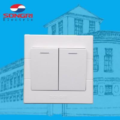 上海松日S1000工程大按钮二开单双控 居民楼盘墙壁开关插座