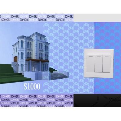 上海松日S1000工程款三开双控大按钮居民楼盘墙壁开关插座
