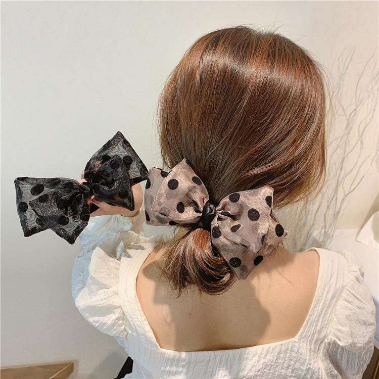 韩国春夏欧根纱黑色蝴蝶结波点发绳网红发夹头绳少女发圈弹簧夹