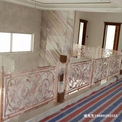 玫瑰金铜板楼梯护栏天津厂家上门安装