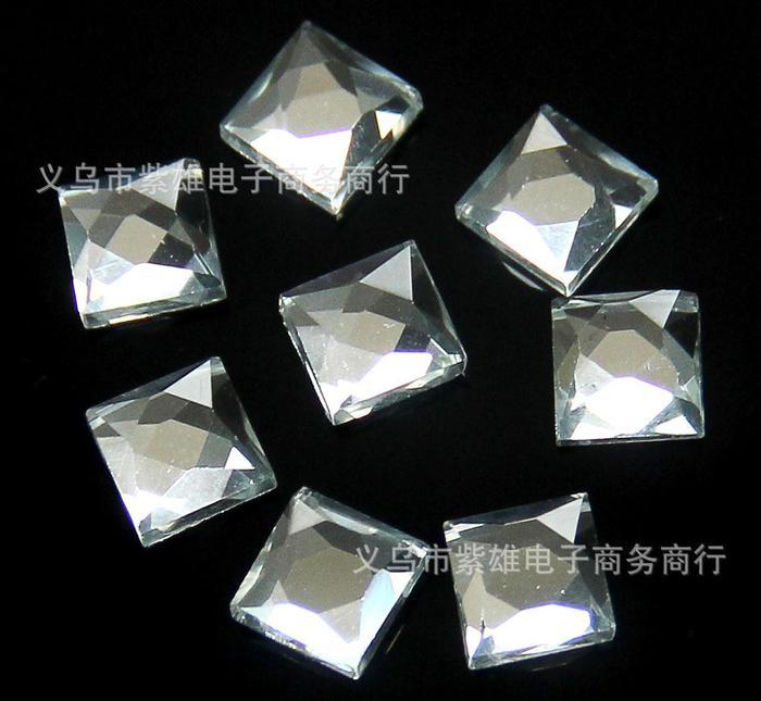 厂家直销平底水晶玻璃钻镜片正方形钻手机饰品包包鞋子配件钻批发