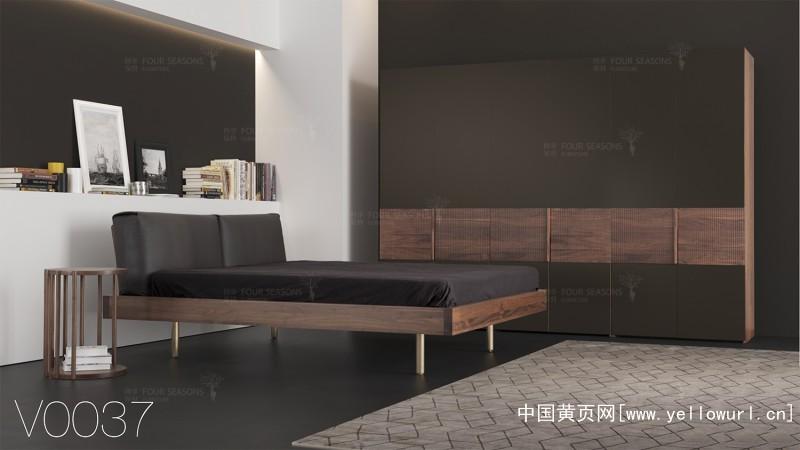 黑胡桃实木床