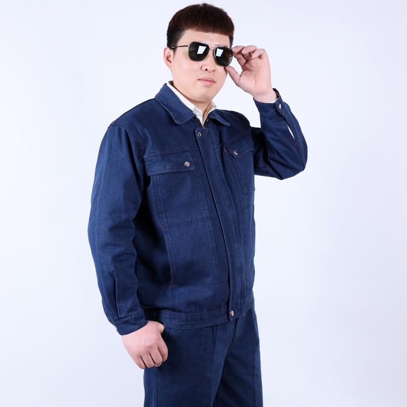 04款全棉牛仔工作服套装长袖大口袋时尚工装电气焊劳保工厂防护服
