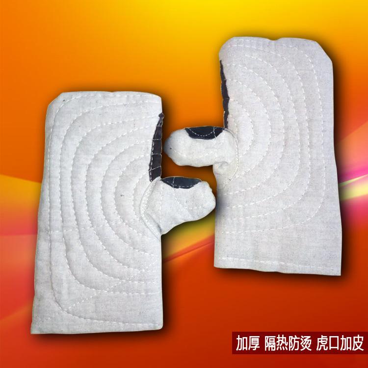 厂家直销白甲帆布手闷加厚加皮防烫防高温耐磨劳保工作手套手闷子