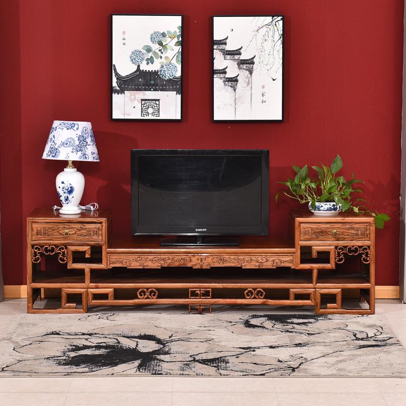 中式简约实木电视机柜客厅仿古榆木视听柜卧室雕花原木地柜批发