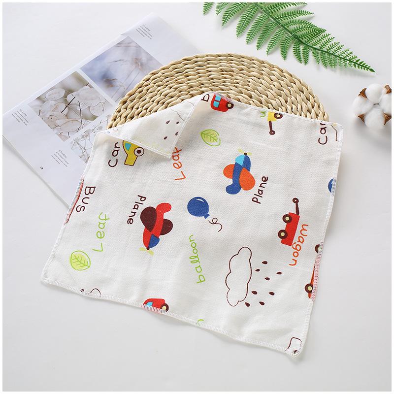 婴儿纯棉水洗高密纱布儿童全棉印花小方巾宝宝口水巾擦手巾