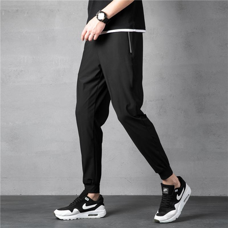男长裤夏季冰丝小脚裤超薄弹力直筒裤韩版青少年休闲运动束口裤
