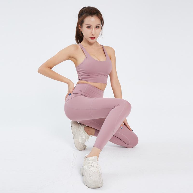 夏季显瘦专业瑜伽服锦纶健身套装跑步运动文胸瑜伽裤瑜伽套装女
