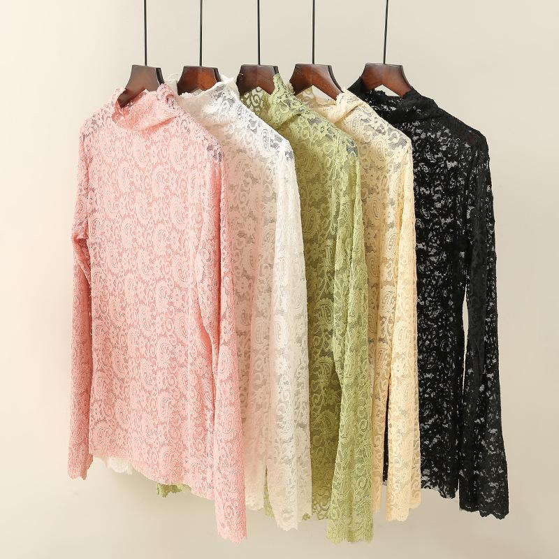 2020新款春季新款蕾丝打底衫女高领洋气小衫网纱内搭仙女衣