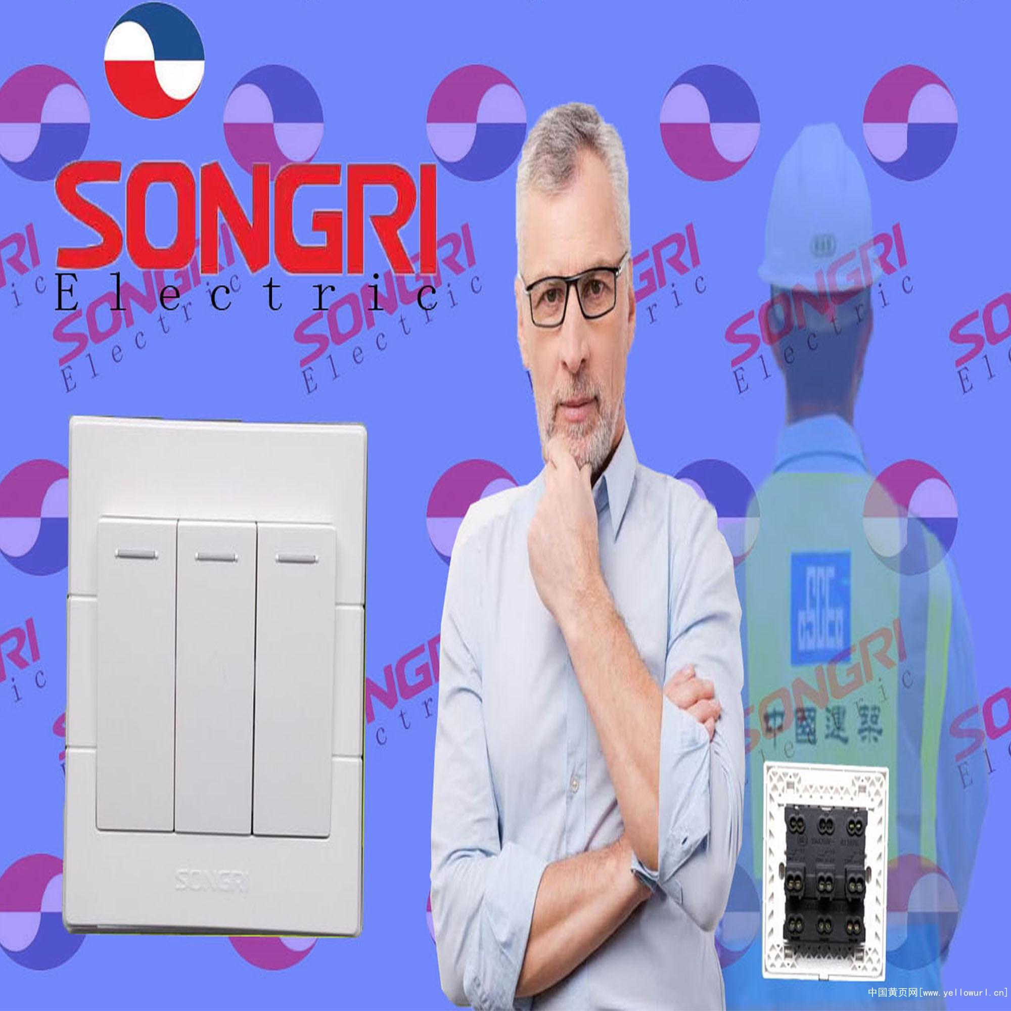 上海松日S1000三开双控 工程款大按钮居民楼盘墙壁开关插座