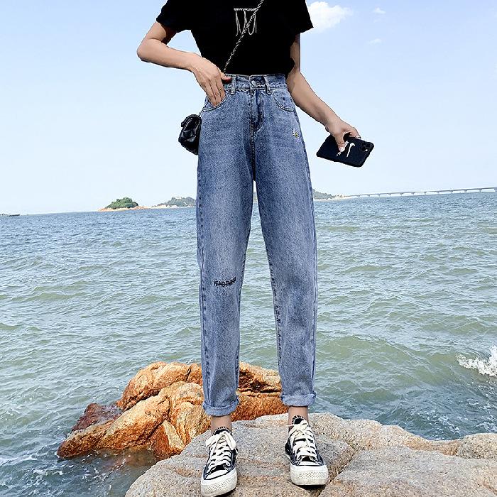 老爹牛仔裤女宽松2020春季新款显瘦松紧高腰破洞九分薄款哈伦裤子